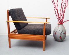German Cherry Wood Lounge Chair, 1960s for sale at Pamono