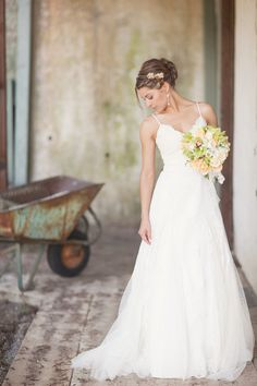 Wedding Dress and Hair - Simple and elegant white gown