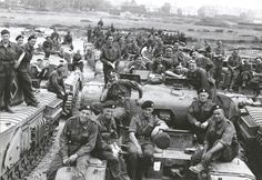 British soldiers with their tanks bound for Normandy after D-Day, probably Stokes Bay
