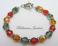 Swarovski Crystal Bracelet with Genuine Bali Silver Beads by Bellissima Jewelers