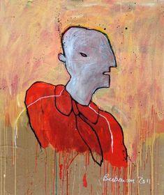 Tête sur carton d'emballage / Head on box board - Michel Berberian