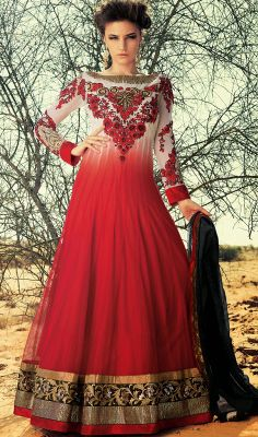 Off White and Red Net Long Length Anarkali Suit #Indiandresses  #Cheap-SalwarKameez