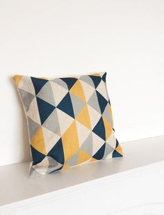 Welcome to SimplySkandi :)  Pattern: Geometric/Scandinavian Design in Black/Grey/Mustard  Item: Decorative Cushion Cover (insert not included)
