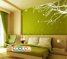 """Wall Decal Sticker Mural Removable Small Size Coner Top Branch 60""""w 2 Colors   eBay"""