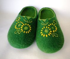 Women felted wool slippers / house shoes - Embroidered flowers / green on Etsy, $65.00