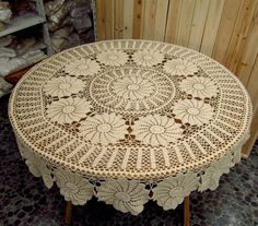 """65"""" Round Crocheted Tablecloth,Vintage handmade cotton tablecover,From 1980s. $69.00, via Etsy."""
