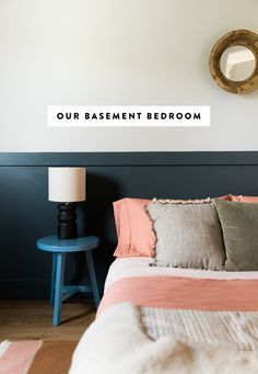 Finishing Our Basement Bedroom with BEHR® Paint Guest Bedroom Decor, Small Room Bedroom, Cozy Bedroom, Bedroom Wall, Guest Room, Master Bedroom, Pink Bedding, Luxury Bedding Sets, Pink Bed Linen