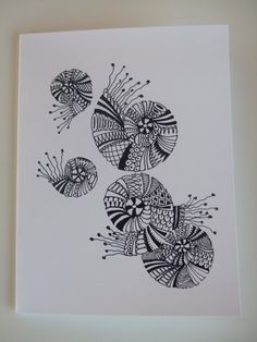 Handcrafted Zentangle Zendoodle Blank Greeting card With Drawing in Ink: Amazon.co.uk: Office Products