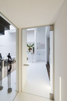 Doorzichtig glazen deur woonkamer van Anyway Doors. Deze glazen deur tussen inkom en woonkamer geeft optimale transparantie maar bezorgt je toch een goede akoestische en tochtafsluiting. De scharnieren worden niet in de vloer verankerd.
