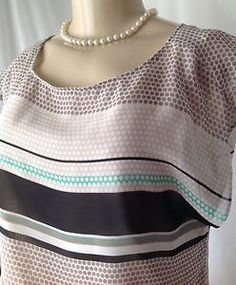 Ann Taylor Sz 4 Polka Dot Career Lined Blouse Elastic Waist Sleeveless GUC | eBay