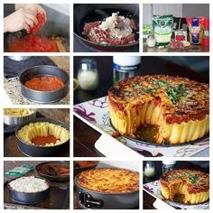 Rigatoni Pasta Pie photo - This I would do for a great party event. This is very time consuming. You have to line an entire cheesecake pan with all the rigatoni pasta on it's ends. Pie Recipes, Pasta Recipes, Cooking Recipes, Recipe Pasta, Dinner Recipes, Pasta Torte, Pasta Cake, Rigatoni Pasta Pie, Pasta Casserole