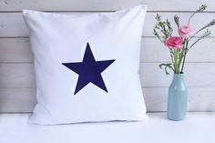 Kissenhülle weiß mit Stern dunkelblau (von Holly