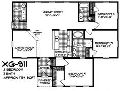 XG - 911 floor plans.  A 3 bed/2 bath modular home available at XtremeGreenHomes.com.