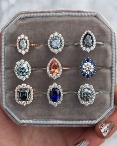 Vintage and antique inspired halo engagement rings by Kristin Coffin Jewelry. - Vintage and antique inspired halo engagement rings by Kristin Coffin Jewelry. Th … Vintage and an - Halo Engagement Rings, Halo Rings, Coloured Engagement Rings, Special Engagement Rings, Grey Diamond Engagement Ring, Solitaire Rings, Big Rings, Promise Rings, Stone Rings