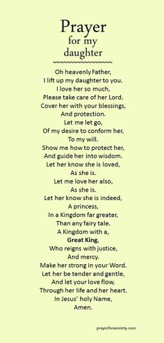 Prayer for my daughter jesus oraciones, hablando con dios, p Prayers For My Daughter, To My Daughter, Prayers For Peace, My Beautiful Daughter, Bible Prayers, Catholic Prayers, Power Of Prayer, My Prayer, Prayer For Courage