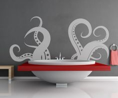 Is that a giant squid taking a quick dip in your bathtub? Or playing hide and seek behind your couch? And how do you explain that octopus climbing down from the ceiling? Ask StickerBrand, which makes these awesome wall decals.