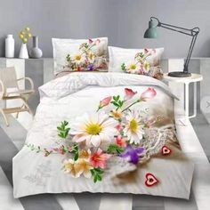 Lenjerie de pat 3D digital print, Ralex Pucioasa, White Flower First Night, Duvet Cover Sets, White Flowers, Bedding Sets, Comforters, Digital Prints, Blanket, Room, Furniture