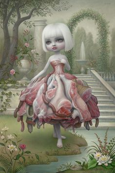 Mark Ryden likes oil on canvas, meat, abe lincoln and religious icons.