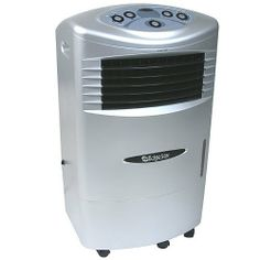 """Edgestar High Velocity Evaporative Swamp Cooler / Portable Air Cooler by EdgeStar. $140.00. Cools rooms of up to 250 square feet, Centrifugal fan provides up to 900 CFM airflow. Three (3) fan speeds; Efficient cooling technology. 5 gallon water tank, Four (4) caster wheels, Operates as a portable cooler, fan, and humidifier. Australian honeycomb water curtain; 25 foot air throw. Dimensions: 32 2/3"""" H x 19 2/3"""" W x 15 3/4"""" D. The EdgeStar High Velocity Portable Air Cooler (..."""