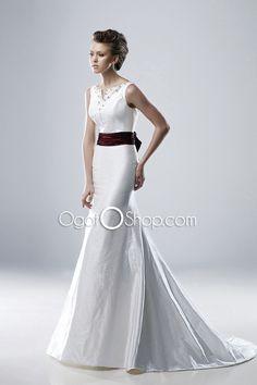 V-neckline Sash Mermaid Wedding Dresses Bow Tie Court Train