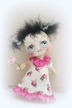 Sweet little hand made doll in pink by suziehayward on Etsy