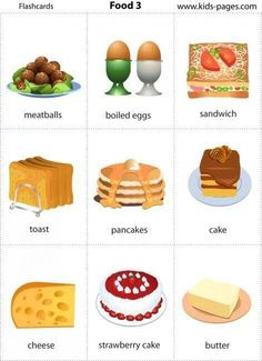 Food vocabulary in Learning English For Kids, Kids English, English Tips, English Food, English Class, English Lessons, Teaching English, Learn English, Food Flashcards