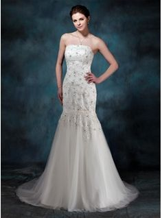 Trumpet/Mermaid Strapless Court Train Satin Tulle Wedding Dress With Lace Beading (002004512) - JJsHouse