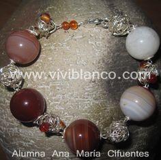 Manilla / Pulsera con bolas de plata tejidas y piedras semipreciosas. Curso de Joyería de ViviBlanco