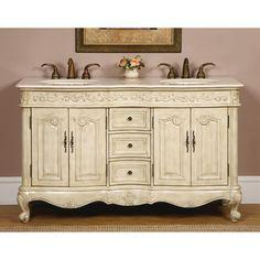 "Silkroad Exclusive Andrea 58"" Double Sink Bathroom Vanity Cabinet"