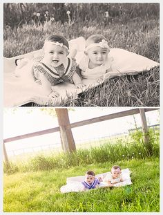 Baby Girl Twins 6 Months Photo Session - Deanne Mroz Photography
