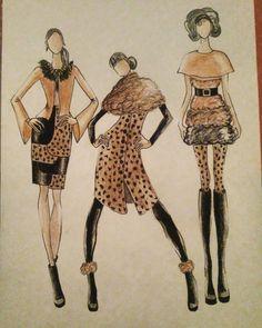 """#fashion #fashiondesigner #designer #drawing #illustration #fashionillustration #leopard #leopardprint #black #fur #leather #inspiration…"""