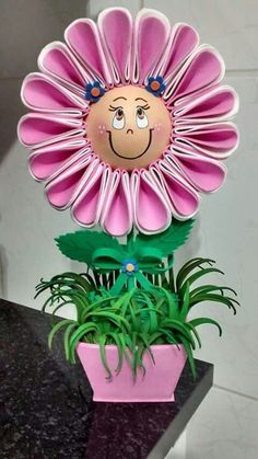 Flor Paper Flowers Diy, Flower Cards, Felt Flowers, Vbs Crafts, Diy And Crafts, Crafts For Kids, Foam Sheet Crafts, Foam Crafts, Flower Pot People