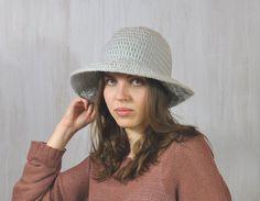Gray Hat, Women's Brimmed Hat, Handmade Hat, Yarn Crochet Hat, Floppy Hat, Flatter Hat, Winter Spring Hat, Impressive unique, Acrylic, OOAK