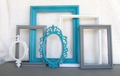 Teal, Grey White Vintage Picture Frames Set of 6 - Upcycled Frames with GLASS Modern Bedroom Decor Peacock Blue Gray Home Decor