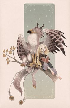 Luna and the hippogriph by blackBanshee80.deviantart.com on @DeviantArt