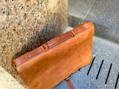 Leather laptop briefcase bag leather by LUSCIOUSLEATHERNYC on Etsy