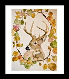 """Rustic Deer Watercolor Print """"Through The Woods""""Limited Edition"""