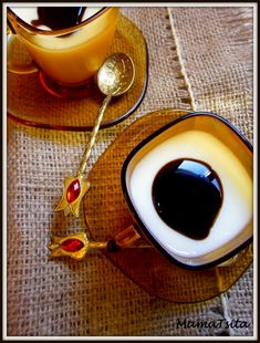 panna cotta with chocolate syrup served in greek coffee cups Sweets Cake, Chocolate Syrup, Greek Recipes, I Foods, Coffee Cups, Panna Cotta, Cooking Recipes, Tableware, Desserts