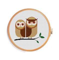 OWLS TOGETHER FOREVER cross stitch pattern by PatternsCrossStitch