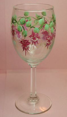 Hand Painted Wine Glass - Fuchsia -  Personalized and Custom Wine Glasses for , Birthday, Wedding, Party, Special Occasions
