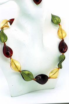 Bead Necklaces, Glass Necklace, Glass Jewelry, Glass Beads, Gold Necklace, Pendant Necklace, Jewellery, Venetian Glass, Murano Glass