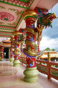 Naja Chinese Temple, Thailand travel asia Share and Enjoy! Laos, Chinese Architecture, Amazing Architecture, Cultural Architecture, Beautiful World, Beautiful Places, Places To Travel, Places To Go, Temple Thailand