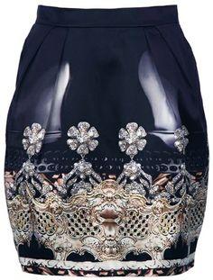 Mary Katrantzou Nebraska Tulip Skirt in Black    looks like its a latex skirt because of the highlights...