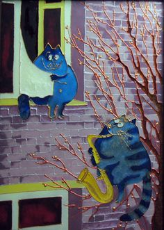 """Stained glass painting """"Blue cats. Spring Blues"""" (This is the prototype of original work of an artist, Rina Zeniuk) by likvitraj on Etsy"""