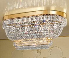 Ceiling flush chandelier, light gold-plated metal frame, Asfour crystal pendants. A large stunning piece for low ceilings.