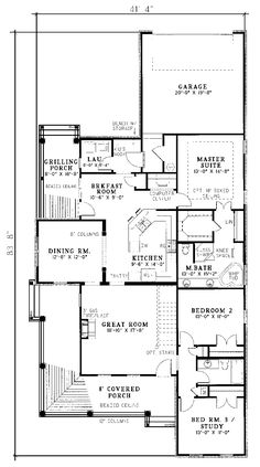 Country House Plan First Floor - 055D-0049 | House Plans and More