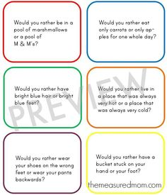 sample would you rather Would You Rather questions for kids   great for long car trips!