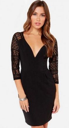 Love this Dress! Sexy Black  Lace Seven's Sleeve Party Dress