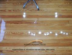 pulido y plastificado de piso de pinotea con melacril brillante en peluquería