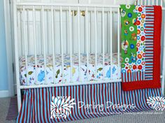 Custom bumperless Crib Bedding Dr Seuss 3 piece Set